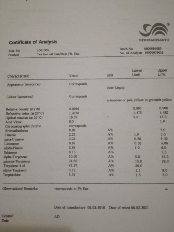 Scheda Tecnica delle componenti del Tea Tree Oil percentuale di cineolo e terpinene4olo